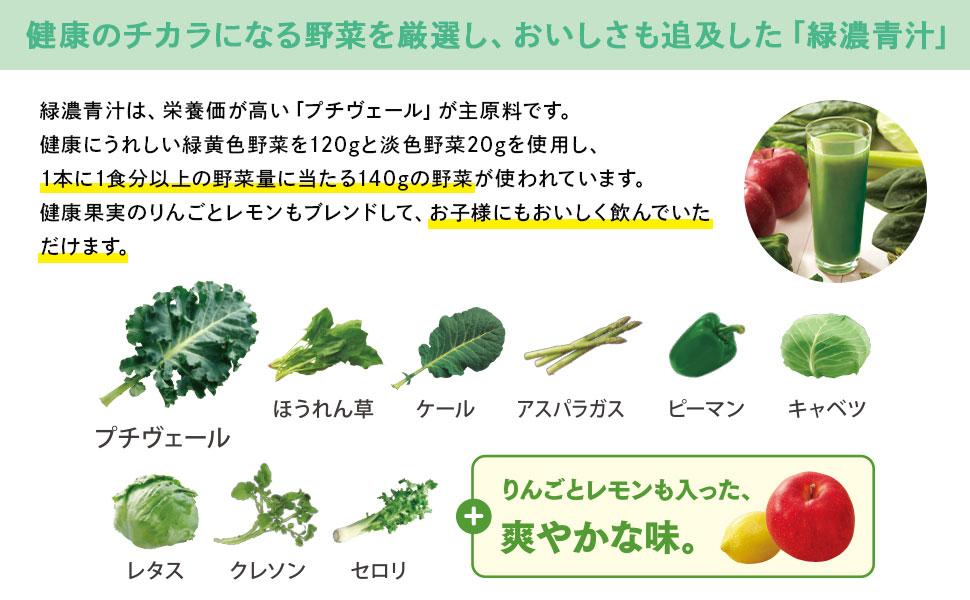 緑濃青汁は、栄養価が高い「プチヴェール」が主原料です。 健康にうれしい緑黄色野菜を120gと淡色野菜20gを使用し、1本に1食分以上の野菜量に当たる140gの野菜が使われています。