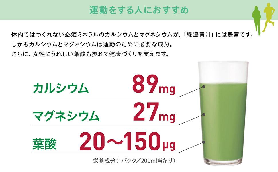 体内ではつくれない必須ミネラルのカルシウムとマグネシウムが、「緑濃青汁」には豊富です。しかもカルシウムとマグネシウムは運動のために必要な成分。さらに、女性にうれしい葉酸も摂れて健康づくりを支えます。